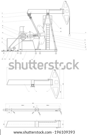 Engineering drawing drive submersible oil pump plunger. Vector format - stock vector