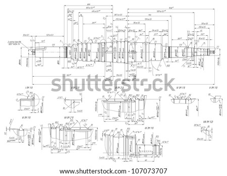 Engineering drawing of components. Vector EPS10 - stock vector
