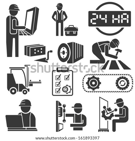 engineering icons, industrial icons - stock vector
