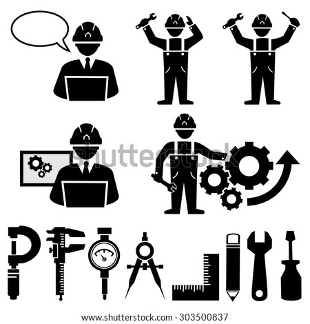 Engineering icons vector. - stock vector
