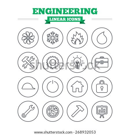 Engineering linear icons set. Ventilation, heat and air conditioning symbols. Water supply, repair service and circuit board thin outline signs. Lamp, house and locker. Flat vector - stock vector