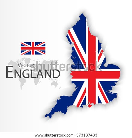 England flag and map ( United Kingdom of Great Britain ) ( combine flag and map ) - stock vector