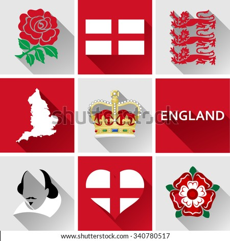 England Flat Icon Set. Set of vector graphic flat icons representing landmarks and symbols of England. - stock vector