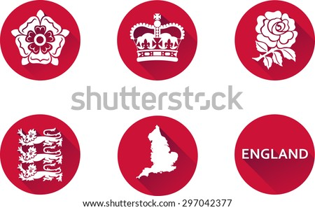 England Flat Icon Set. Set of vector graphic flat icons representing national symbols of England. - stock vector
