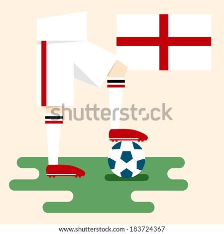 England, national soccer uniform and flag, flat design - stock vector