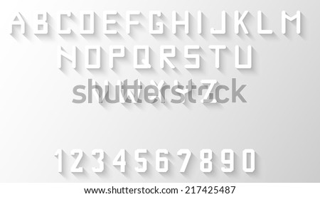 English Alphabet and numbers with long five o'clock shadow font - stock vector