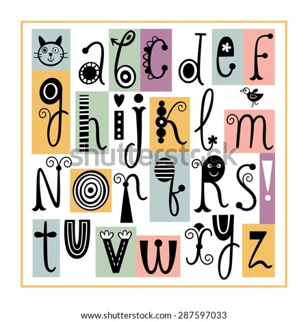 English Alphabet. Cute Stylish Letters. - stock vector