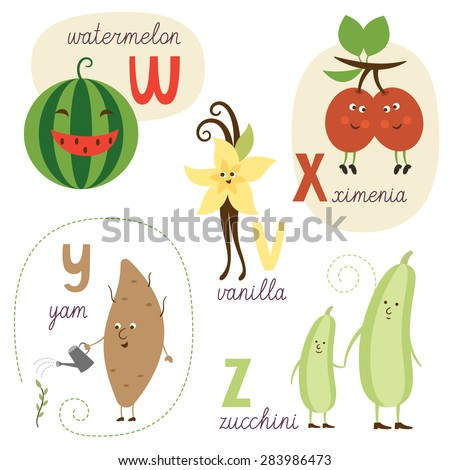 english alphabet with fruits and vegetables - stock vector
