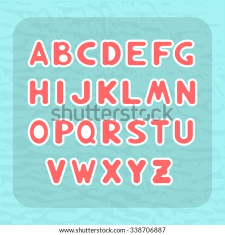 English alphabet with letters round shape in the form of children's stickers - vector, EPS 10 - stock vector