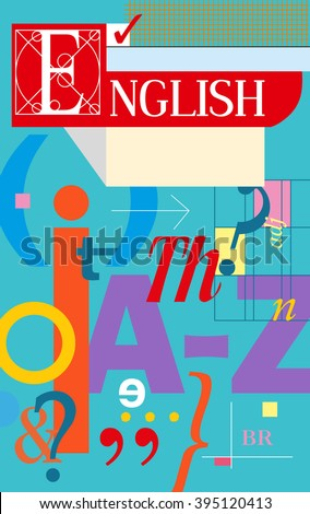 English cover. Textbook and notebook. Book with English symbols. Vector illustration - stock vector