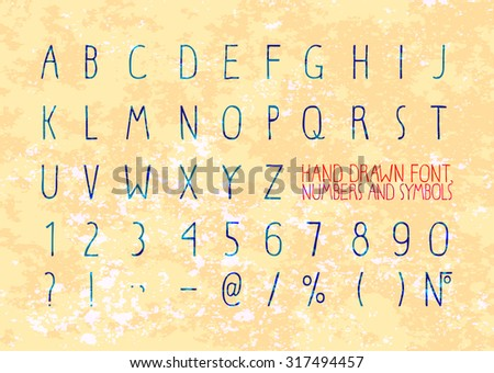 English doodle font. Hand-drawn stylish slim elements. Vector - stock vector