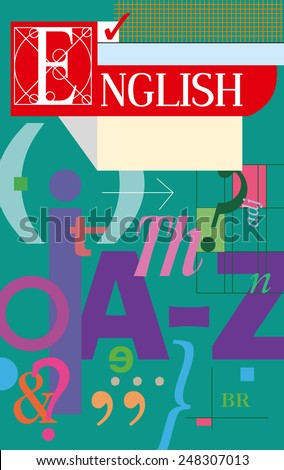 English language cover. Textbook and notebook. - stock vector