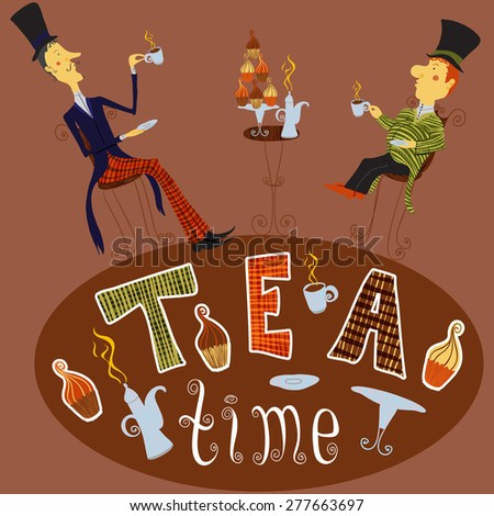 English man drinking tea.  Vintage hand drawn card  tea time elements collection  - stock vector
