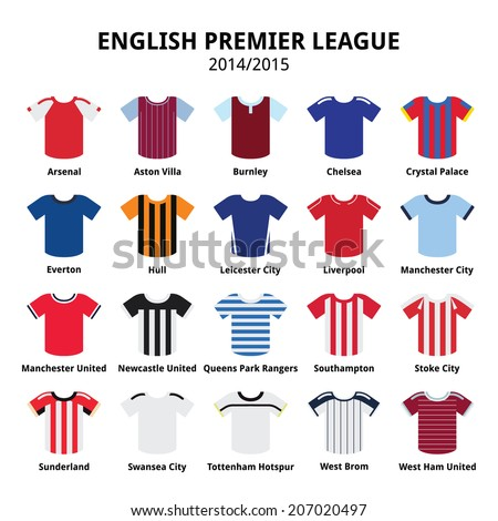 English Premier League 2014 - 2015 football or soccer jerseys icons set - stock vector