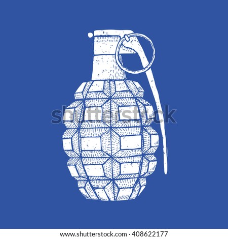 Engraved grenade in vintage style, vector background - stock vector