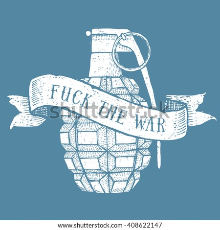 Engraved grenade with ribbon in vintage style, vector - stock vector