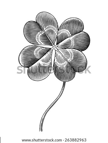 Engraved illustration of four leaf clover - stock vector