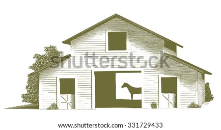 Engraved-style illustration of a horse stable with the silhouette of a horse inside the barn. - stock vector