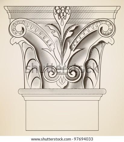 Engraving column - stock vector