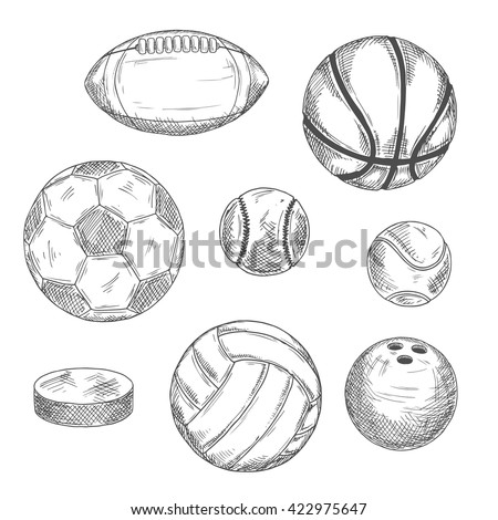 Engraving sketches of sporting balls and ice hockey puck for sports competition or activity design with football and soccer, basketball and baseball, rugby and volleyball, tennis and bowling balls - stock vector