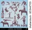 """Engraving vintage acrobats from """"The Complete encyclopedia of illustrations"""" containing the original illustrations of The iconographic encyclopedia of science, literature and art, 1851. - stock vector"""