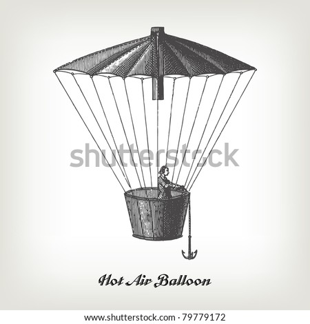 "Engraving vintage Hot air Balloon from ""The Complete encyclopedia of illustrations"" containing the original illustrations of The iconographic encyclopedia of science, literature and art, 1851. Vector. - stock vector"