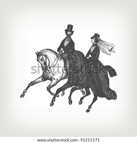 """Engraving vintage noble horse riders from """"The Complete encyclopedia of illustrations"""" containing the original illustrations of The iconographic encyclopedia of science, literature and art, 1851. - stock vector"""