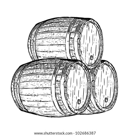 engraving wine beer barrel - stock vector