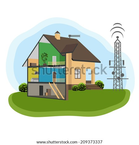 Enhancing cellular communication. House cutaway. Antenna device - stock vector