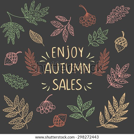 Enjoy Autumn Sales banner, with hand drawn text and autumn leaf background. Sketch, design elements. Vector illustration - stock vector