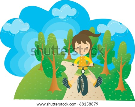 Enjoy Picnic and Happy Days background with blue sky and green plants - cycling smiling and lovely young girl with bike in natural park on spring vacation - stock vector