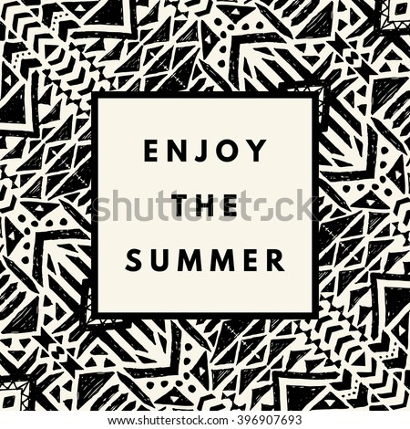 Enjoy the summer hipster boho chic background with aztec tribal mexican texture. Minimal printable journaling card, creative card, art print, minimal label design for banner, poster, flyer. - stock vector