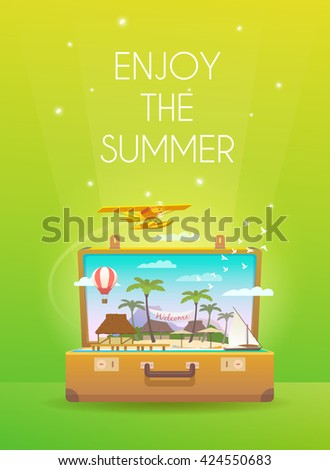 Enjoy the summer.Travel vertical banner. Open suitcase with tropical island. Flat style. - stock vector