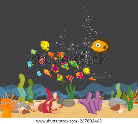 Enjoyed under the sea - stock vector