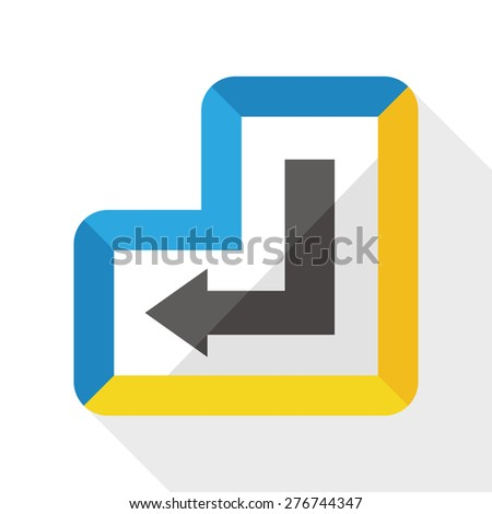 enter keyboard flat icon with long shadow - stock vector
