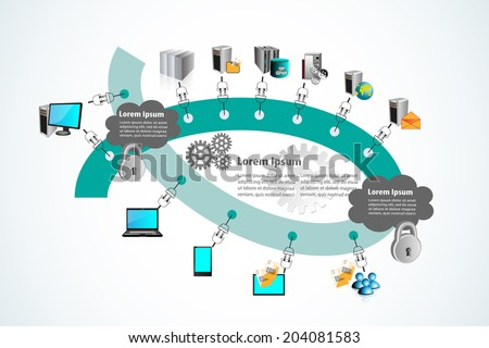 Enterprise Application Integration and Technology infographics, This illustrates the different  users connecting to different servers through multiple adapter connections in two different networks - stock vector
