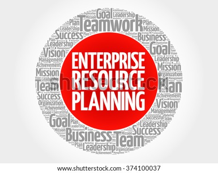Enterprise Resource Planning circle word cloud, business concept - stock vector