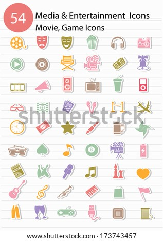Entertainment icons,Colorful version,vector - stock vector