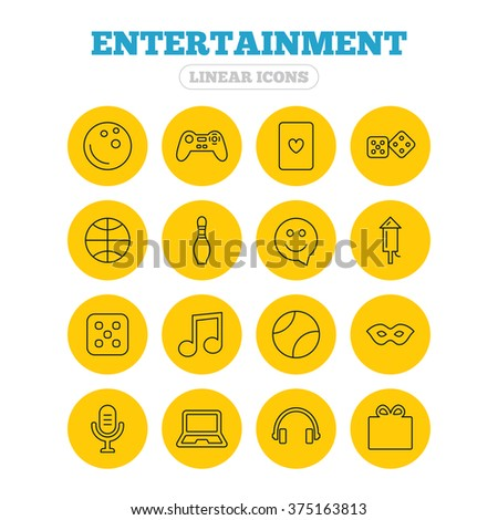 Entertainment icons. Game console joystick, notebook and microphone symbols. Poker playing card, dice and mask thin outline signs. Musical note and smile in speech bubble. Linear icons on buttons. - stock vector