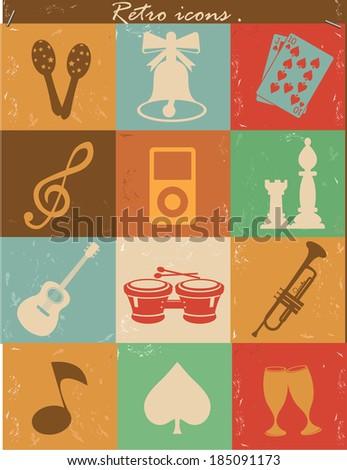 Entertainment icons,Vintage version,vector - stock vector