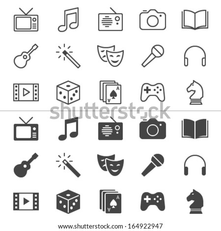 Entertainment thin icons, included normal and enable state. - stock vector
