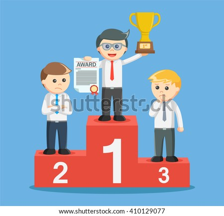 entrepreneur get a trophy on the podium  - stock vector