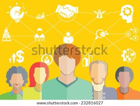 entrepreneurship, startup concept, yellow background - stock vector