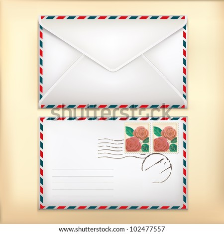 Envelop Front & Back with Stamp on Old Background. - stock vector
