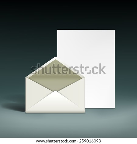 Envelope and a sheet of paper. Vector illustration - stock vector