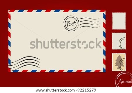 Envelope and stamp set. Vector Illustration. - stock vector