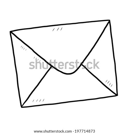 envelope / cartoon vector and illustration, black and white, hand drawn, sketch style, isolated on white background. - stock vector