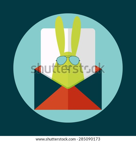 Envelope containing letter with hipster rabbit. Vector postcard - stock vector