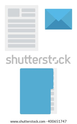 Envelope, document and folder with file  - stock vector