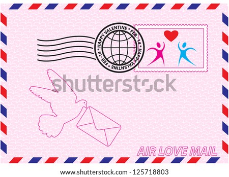 Envelope for Valentine Day with stamp, heart and bird symbols - stock vector